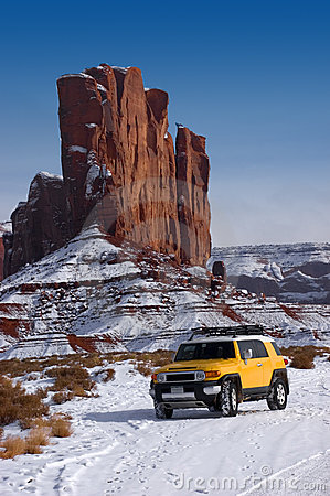 Off Road Four Wheel Drive Touring in Mountain Snow