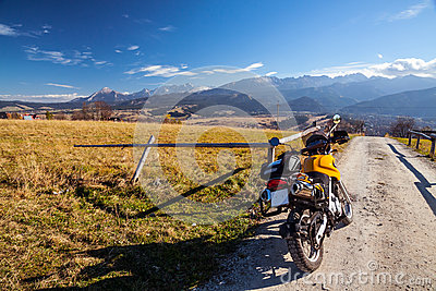 Off-road motorcycle in mountains scenery