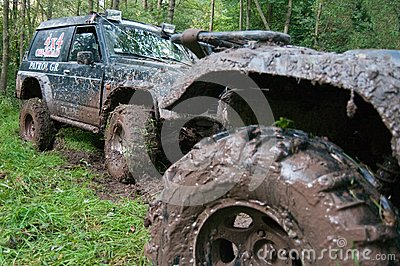 Off-road vehicles after the race.