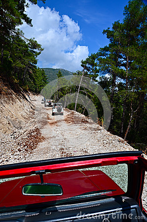 Off-roads safari in the mountains road