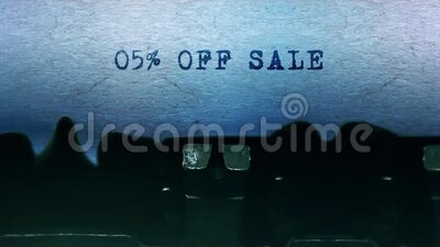 05 OFF Sale words Typing on a sheet of paper with an old vintage typewriter. stock footage