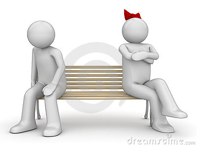 Offended man and woman on a bench