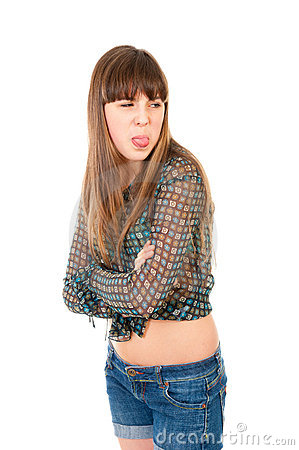 Free Offended Teen Girl Shows Her Tongue Royalty Free Stock Photo - 21454915