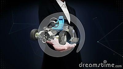Offene Palme der Geschäftsfrau, hybrides Auto, elektronisch, Wasserstoff, Lithium-Ionen-Batterie-Echoauto umweltfreundliches zukü stock footage