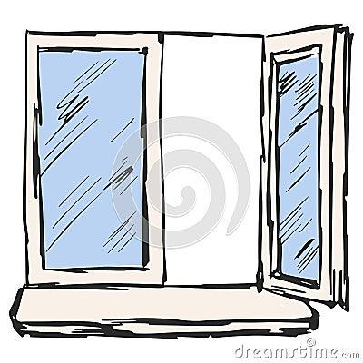 offenes fenster vektor abbildung bild 39018274. Black Bedroom Furniture Sets. Home Design Ideas