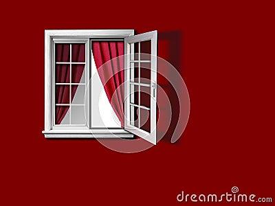 offenes fenster mit vorhang und roter wand lizenzfreie stockfotos bild 31926978. Black Bedroom Furniture Sets. Home Design Ideas