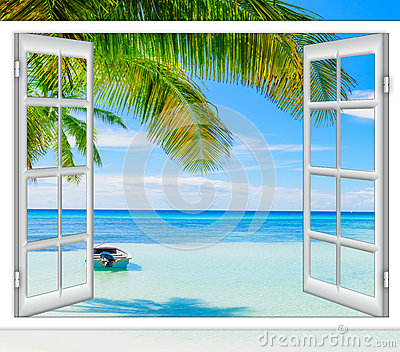 Offenes Fenster zum Meer stockfoto. Bild von küste, horizont - 82771724