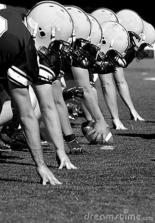 Offensive Linemen, black and white