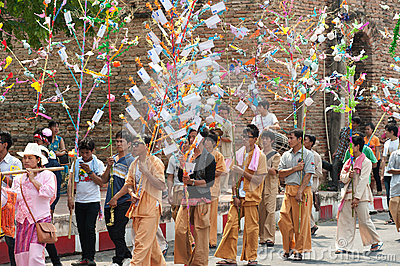 Offering given as alms on parades of Poy-Sang-Long Festival in N Editorial Image