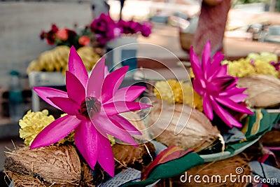 Offerings: pink lotus, yellow flowers
