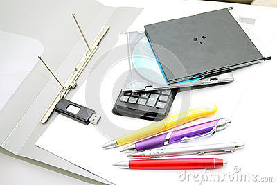 Office accessories  on a white background