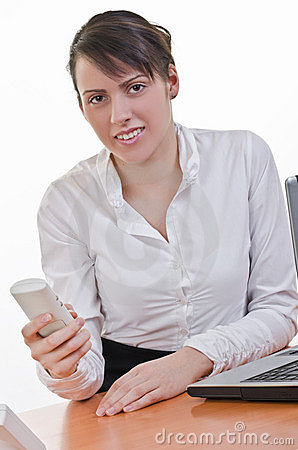 Office assistant holding phone