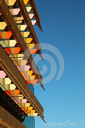 Office building with colorful awningS