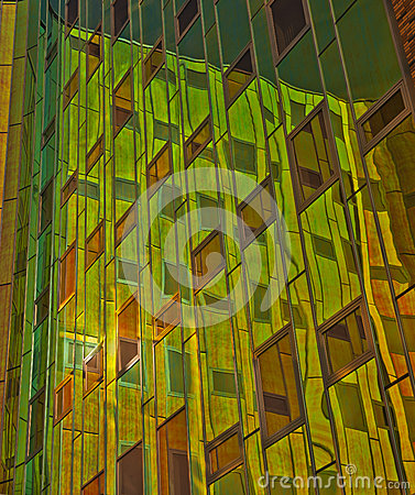 Office building with green yellow reflexions in wi