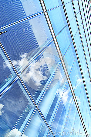 Office building and sky reflection