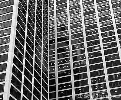 Office Building and Windows, B&W