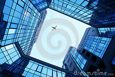 Office buildings as a frame and sky
