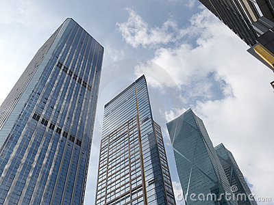 Office buildings, looking-up