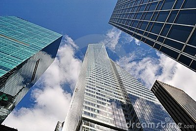 Office Buildings in New York City With Cloudy Sky