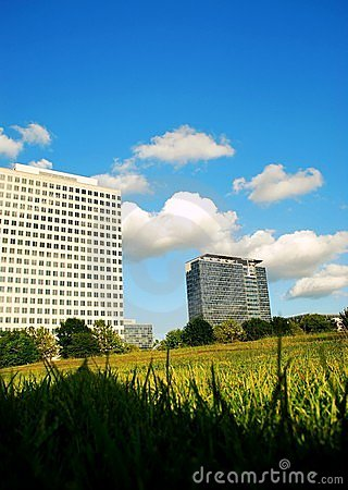 Office buildings and open field