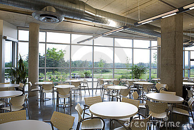 Office cafeteria view in modern building.