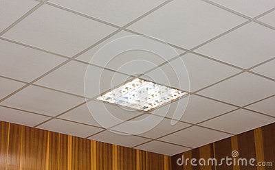 Office ceiling with built-in fluorescent lamp