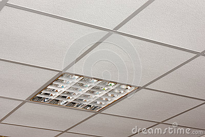 Office ceiling lamp close-up diagonal view