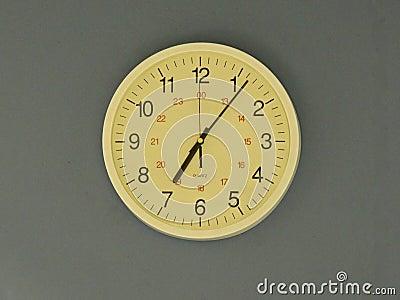 Office clock at 7.05