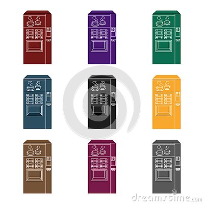 Free Office Coffee Vending Machine Icon In Black Style Isolated On White Background. Office Furniture And Interior Symbol Stock Image - 99713411
