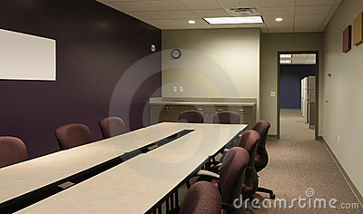 Office conference / workspace with purple wall
