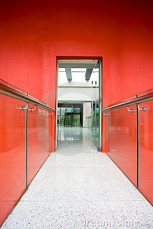 Office corridor to door