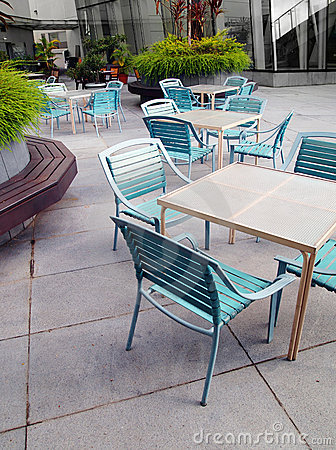 Free Office Courtyard Cafe Furniture & Landscaping Royalty Free Stock Photos - 13081428