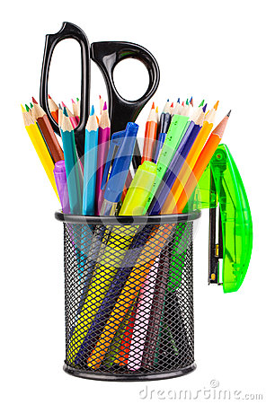 Free Office Cup With Scissors, Pencils And Pens Royalty Free Stock Images - 29776369
