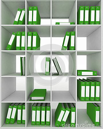Office cupboard with different folders