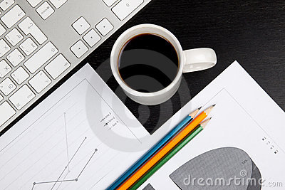 Office desk with coffee