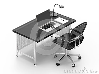 Office desk with computer,
