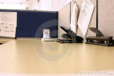 Office desk with Hole Puncher and Stapler