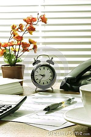 Office desk at morning