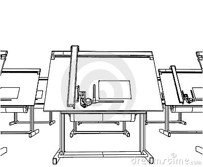 Office Desks For Drawing Vector 04
