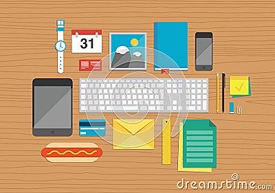 Office elements on desktop illustration