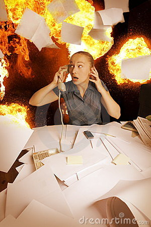 Office On Fire And Flying Paper Sheets Royalty Free Stock Images ...