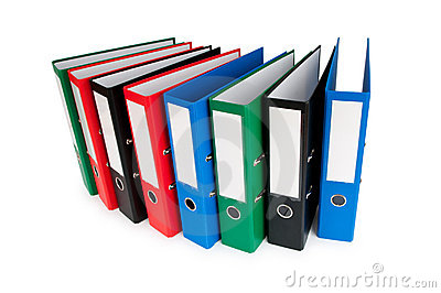 Office folders isolated on the white