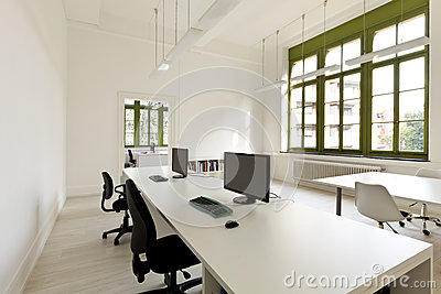 Office with furniture, computer