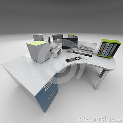 Office furniture design rendering studio royalty free for Table design graphic