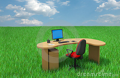 Office furniture on grass