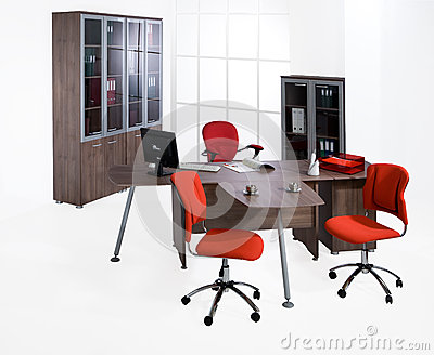 Innovative Office Furniture Set Isolated On White Background Stock Photo