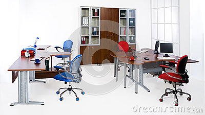 Perfect Office Furniture Set Isolated On White Background Stock Photo