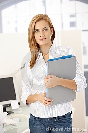 Office girl with folders
