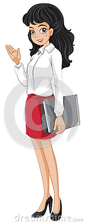 An office girl holding a binder