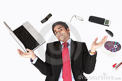 Office guy with technology